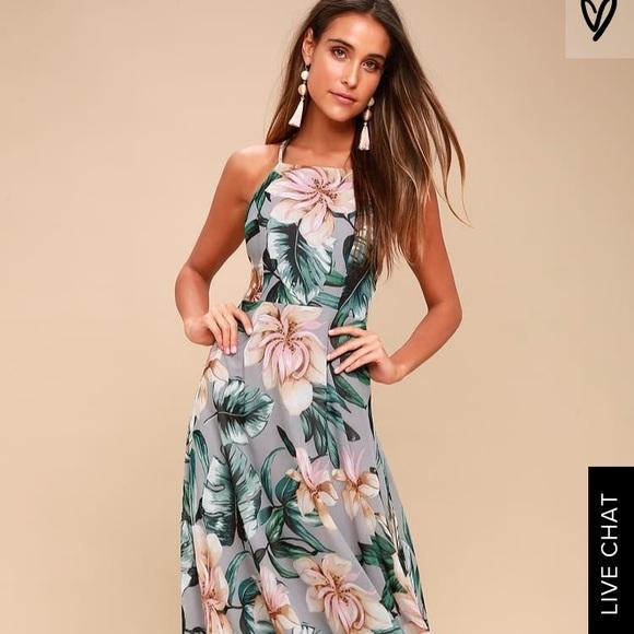 5d41d095d649 Love Abloom Grey Floral Print Lace Up Maxi Dress